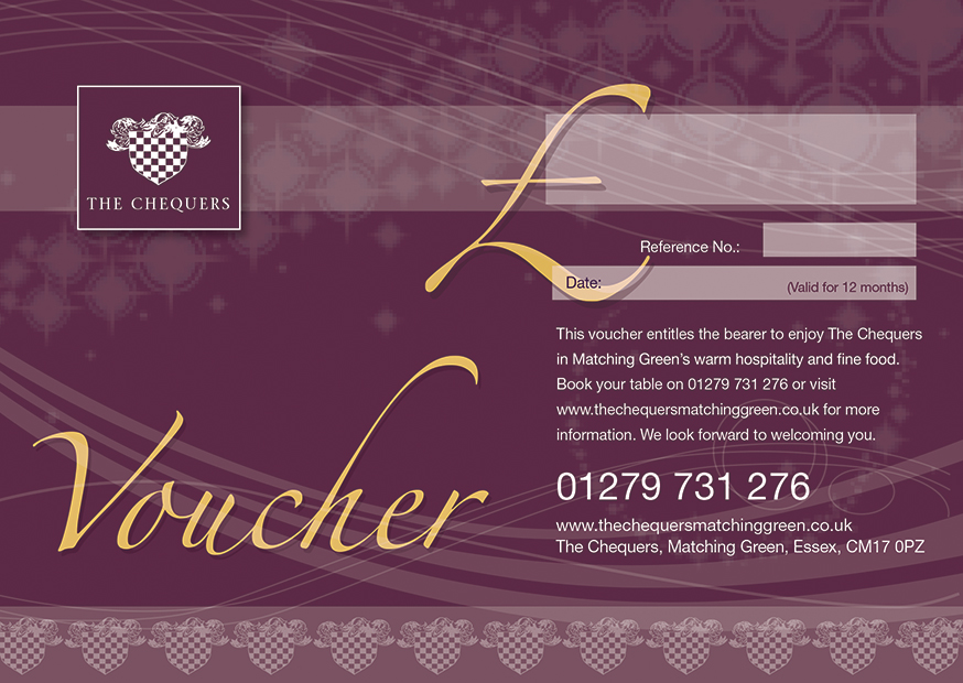 The Chequers Matching Green Restaurant Gift Voucher